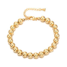 Fashion Womens Mens Yellow Gold Filled Ball Chain Beaded Bracelet Jewelry 10''