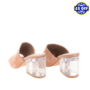 STEVE MADDEN Suede Leather Mule Sandals EU 41 UK 7-7.5 US 10 Transparent Heel