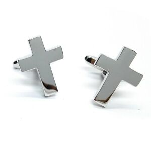 Rhodium Plated Plain Christian Cross Cufflinks    AJ739