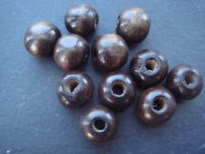250 - 12 mm redonda con cuentas de madera marrón con agujero grande 3 mm