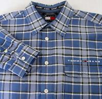 Tommy Jeans Hilfiger Blue Plaid Shirt Mens L Large Long Sleeve Spellout Pocket