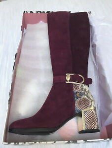 Moda in Pelle Tanci Knee High Boot Burgandy Size 6 (39)
