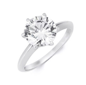 Womens Sterling Silver Round Solitaire Promise Engagement Ring 3 CTW Size 5-10