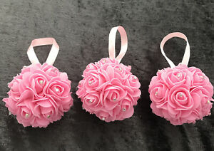 Set Of 6 Pink  Mini Foam Rose Flower And AB Rhinestone Baubles For Christmas
