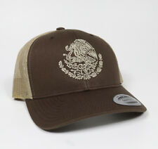 Gorra Escudo MX Mexico Snap Back Trucker Hat Visera Clasica Brown Adjustable