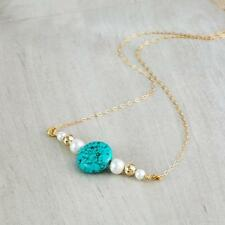 Women's Fashion Accessories Turquoise Pearl Necklace Gold Plated