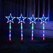 4x Multi Coloured Star LED Stake Lights 70cm Outdoor Lamps Christmas Festive