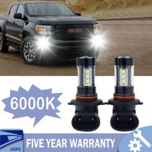 LED Fog Light Bulbs For GMC Canyon 2004-2012 H10 9145 6000K White 100W 2pc