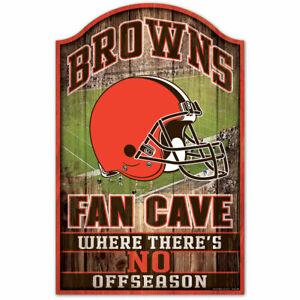 """CLEVELAND BROWNS FAN CAVE HARDBOARD WOOD SIGN 11""""X17"""" NFL LICENSED USA SELLER"""