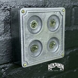 4 Gang 2 Way Solid Cast Metal Light Switch Industrial - BS EN Approved Vintage