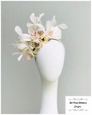 Ladies Cream & Beige Tones Floral Fascinator Wedding Races Melbourne Cup