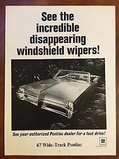 Vintage 1967 Original Print Ad WideTrack PONTIAC Convertible~Disappearing Wipers
