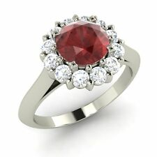 1.65Ct Natural Garnet & SI Diamond Engagement Ring In 18K White Gold Certified