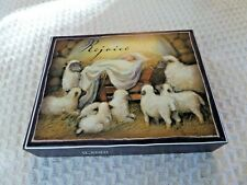 "9 ""Rejoice"" Lang Christmas cards Susan Winget 2013 Baby Jesus and Sheep Glitter"