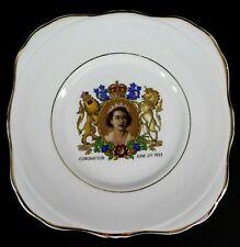 "Queen Elizabeth II Coronation June 2nd 1953 Plate 6.5"" Gold Trim Made In England"