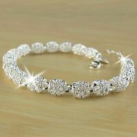 Fashion Women's 925 Silver Charm Chain Bangle Bracelet Wedding Jewelry Gifts UK