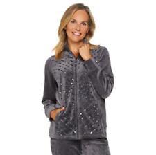 Quacker Factory 3X Charcoal Grey Velour Sequin Jacket