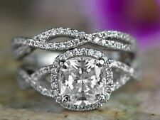 Certified 4 Carat Cushion Cut Diamond Engagement Bridal Ring Set 14k White Gold