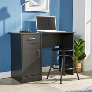 Black Desk 1 Drawer 1 Door Compact Computer Workstation Home Office Table Tyler