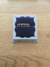 Hallmarked 375 9ct Vintage Yellow Gold Sapphire 5 Stone Eternity Ring Size:p,