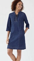 J Jill Denim Chambray Lace Up Raw Hem Shift A-Line Dress Pockets Blue Sz S Tall