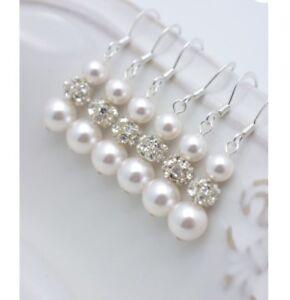 Wedding Bridal Pearl And Rhinestone Earrings,wedding,bridesmaid gift jewellery's
