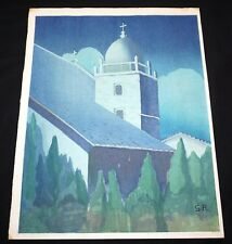 "1935 California WB Print ""Carmel Mission"" by Shirley Russell (1886-1985) (Mod)"