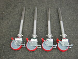 4 X Adjustable Legs &  Castors fit BoSS/EURO/EIGER/LEWIS/UTS scaffolding towers