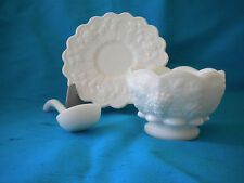 Vintage Westmoreland Paneled Grape White Milk Glass Mayo Cocktail Condiment Bowl