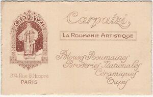 Carpatzi - Dealer in Romanian Arts & Crafts Paris Shop Vintage Advertising Card