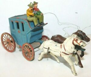 Old FRANCE Made, 1930s Lead, Wild West American Stage Coach With Driver & Guard