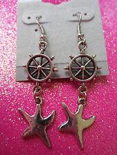 Ships Wheel and Star Fish Dangle Earrings