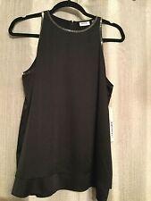 DKNYC City Essentials Black Satin Embellished Tank, Blouse Size Medium NWT