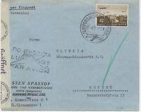 BULGARIEN 1941 12 L Flugpostausg. selt. EF a. Pra.-Flugpost-Zensur-Bf Dt. Reich