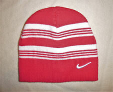 NIKE Pink White Striped Beanie Hat Girls 4 to 6X