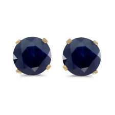 1 Carat Total Weight Natural Round Sapphire Stud Earrings Set in 14k Yellow Gold