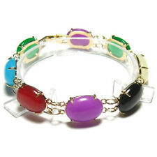 "7.5"" 8 PC GENUINE MULTI COLOR JADE 18K YGP BRACELET"