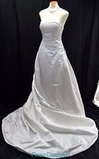 Demetrios satin beaded White Wedding Dress Bridal gown detachable train 10 $2100