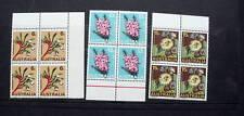 Australia 1968 Flowers Set Of 3 Blocks Of 4 Mint Nh