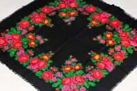 Black Wool Shawl Vintage Floral Scarf Bohemian Babushka Russian Ukrainian Gift