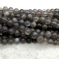 High Quality Natural Genuine Flash Light Gray Black Moonstone Round Stone Beads