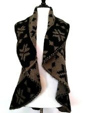 Talia Benson Womens Brown Black Mohair Blend Draped Circle Sweater Vest