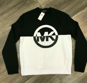 New Michael Kors MK Logo Crew Neck Sweatshirt Mens Size Large Black White