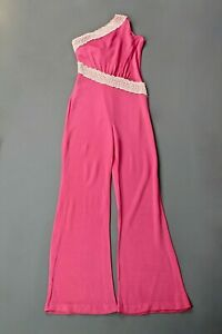 VTG Women's 70s Polyester Pink Fredericks of Hollywood Jumpsuit Sz S 1970s