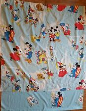Mickey Mouse and Friends Homemade Window Curtain Vintage Fabric With Flaws