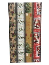 4 x 8m Traditional Christmas Gift Wrap Wrapping Paper Roll Xmas Holly 23619