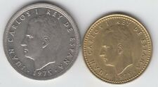 Spain 1975 1 Peseta and 5 Pesata realy nice condition