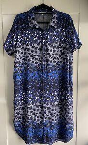 Sportscraft Women Blue Floral Shirt Dress Summer Casual 16