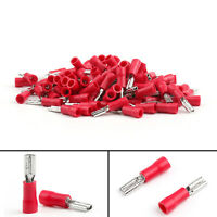 100Pcs FDD1-110 Insulated Female Spade Connector Crimp Terminal 22-16AWG Red US