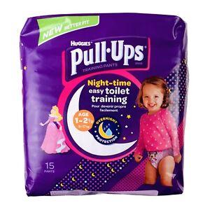 Lot 2 Huggies Disney Girls Age 1-2 1/2 Pull-Ups Night Time Training Pants 30 Ct